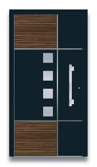 Haustüre schwarz mit Holz