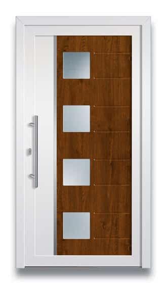 Haustüre mit Holz und weiss