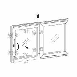 Grafik - Lüftungsstellung der Glasschiebetür