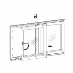 Grafik Softclose Schiebetür - Schiebestellung der Glasschiebetür