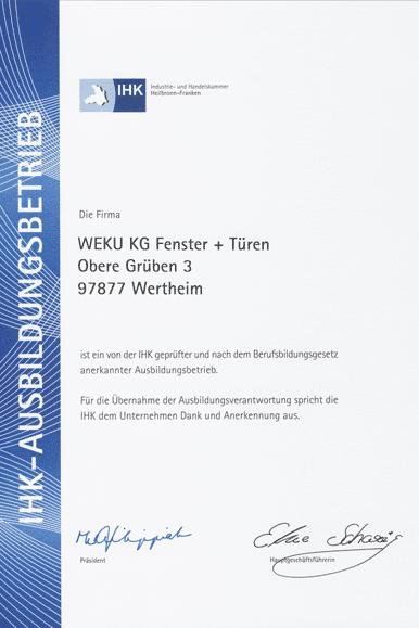 IHK Ausbildungsbetrieb - Zertifikat